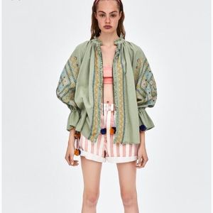 Zara Embroidered Jacket with PomPoms